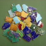 Vintage Wells Enamel State Map Charms