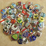 Vintage Silver and Enamel Travel Shield Charms
