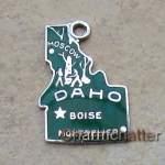 Vintage Idaho State Map Enamel Charm