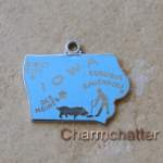 Iowa Wells Enamel Slogan Charm