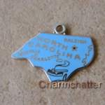 North Carolina Bracelet Charm Sterling Silver Enamel