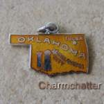 Oklahoma Charm Enamel Sterling Map