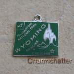 Vintage Wells Silver Wyoming Bracelet Charm