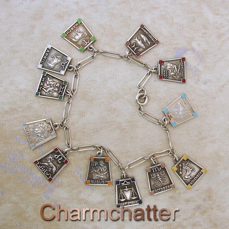 Zodiac enamel charm bracelet