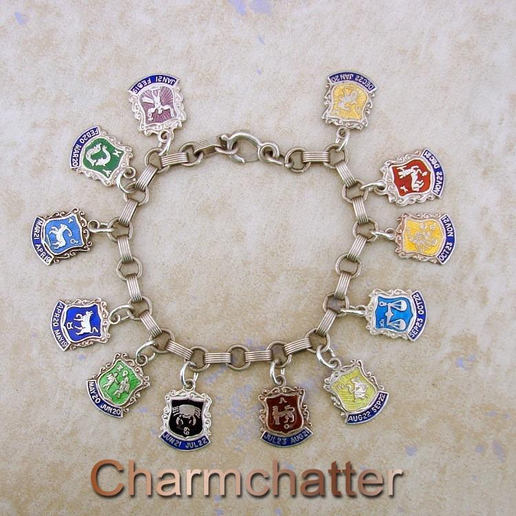 Zodiac shield charm bracelet