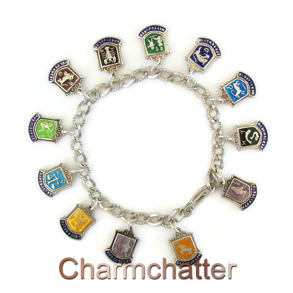Enamel Vintage Zodiac Charm Bracelet