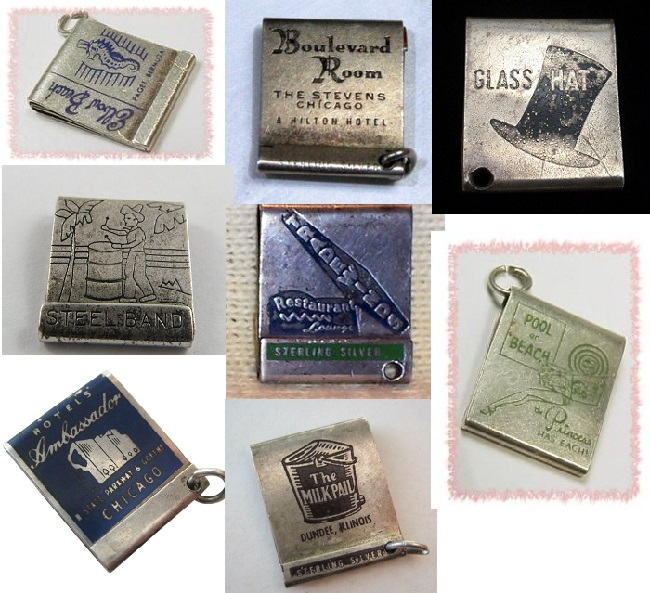 sterling silver matchbook charms
